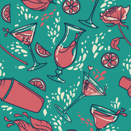 seamless pattern with cocktails, flowers and splashes, can be used for summer party or for bachelorette party, vector illustration in sketch style