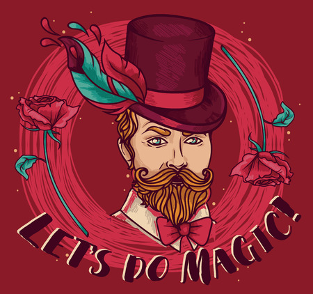 poster for magician perfomance in gypsy style, can be used for retro circus party, vector illustration