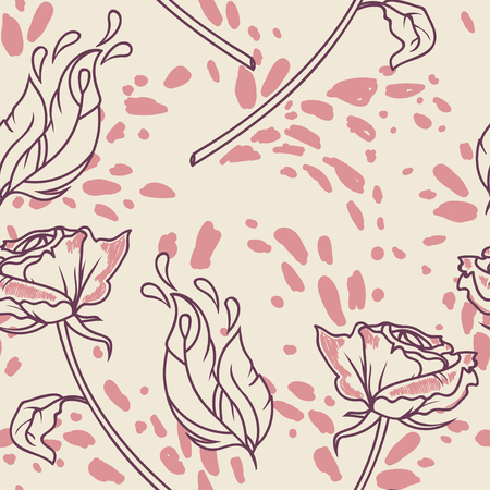 seamless pattern with roses, feathers and splashes, vector illustration in sketch style