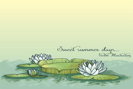 cartel con lirio de agua en el agua y lugar para el texto, se puede utilizar como invitación de la fiesta de verano, Ilustración de vector de dibujo