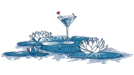 blue cocktail and waterlilies in water, bright vector illustration Illustration