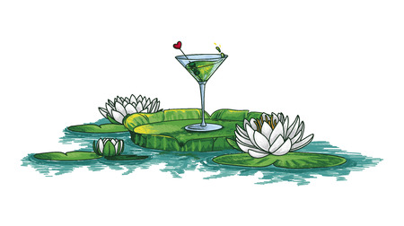 green cocktail and waterlilies in water, bright vector illustration