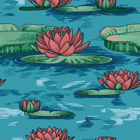 seamless pattern with water lilies in water, sketch style vector illustration