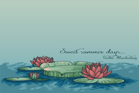 poster with water lily in water and place for text, can be used as summer party invitation, sketch vector illustration Vettoriali
