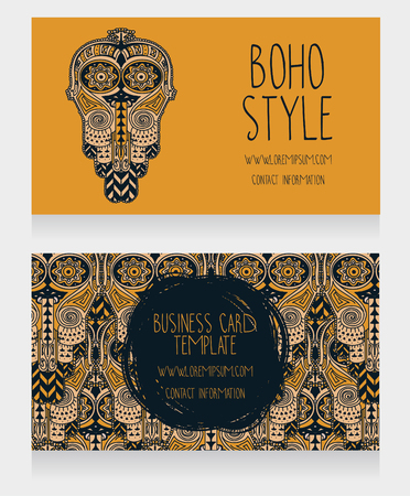 Two cards for ethnic style, can be used as party invitation or as boho shop business cards, vector illustration