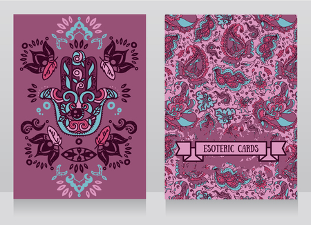 Two cards with hamsa symbol and indian ornaments, vector illustration