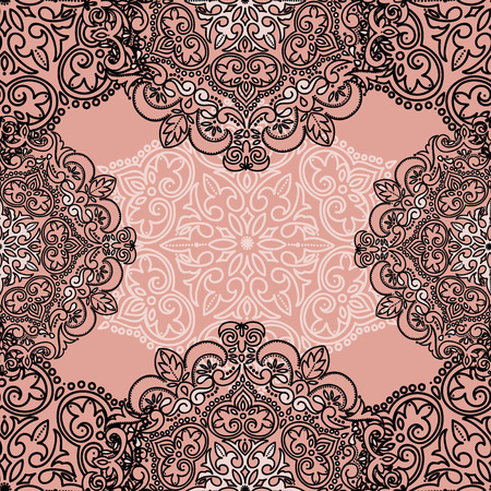 Card with beautiful lace frame, can be used for wedding or as invitation for elegance party, vector illustration