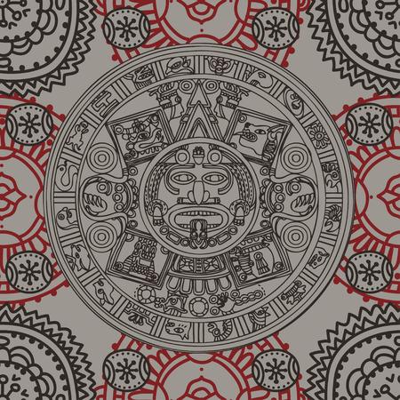 マヤの干支、民族の装飾、ベクトルイラストとシームレスなパターン 写真素材 - 90667065