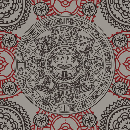 Seamless pattern with Mayan zodiac, ethnic ornament, vector illustration