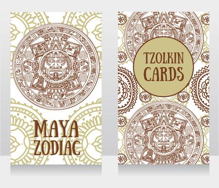 Bandiere con zodiaco Maya ornamentale, ornamento etnico, illustrazione vettoriale Archivio Fotografico - 90667230