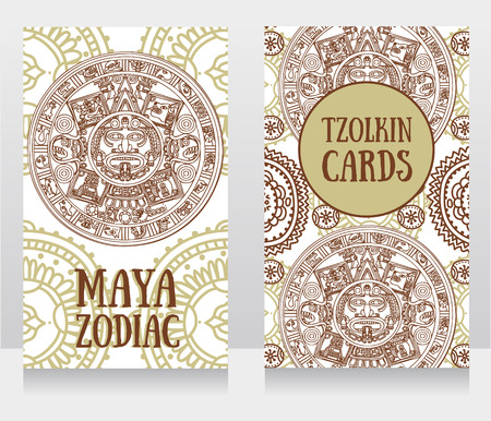 Banners with ornamental Mayan zodiac, ethnic ornament, vector illustration