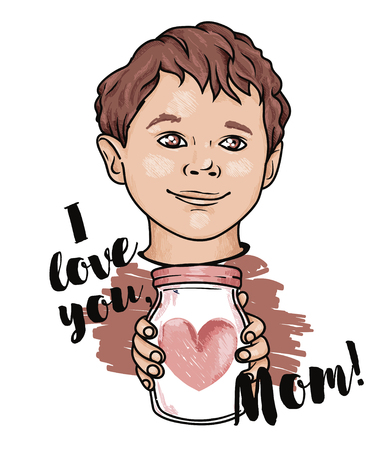poster for mothers day with cute smiling boy, vector illustration in sketch style