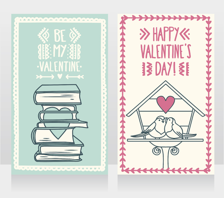 Cute cards for valentines day, doodle stack of books with heart and birds couple, vector illustration Ilustração