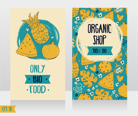 Business cards template for organic foods shop or vegan cafe, vector illustration