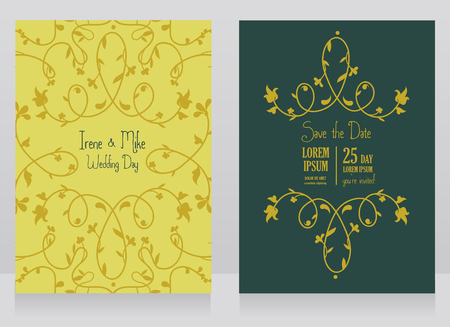 Two floral wedding cards, beautiful design, can be used as business cards for wedding shop, vector illustration Ilustração
