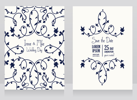 Two floral wedding cards, beautiful design, can be used as business cards for wedding shop, vector illustration Illustration