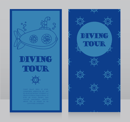 Cards for diving tour with vintage submarine, can be used as invitation to diving camp, retro style vector illustration Stok Fotoğraf - 90752563