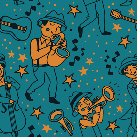 seamless pattern with cute doodle musicians in 1920's style, jazz or blues music band, vector illustration