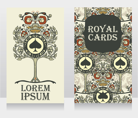 Cards with royal ornament, can be used as invitation for poker club or as banners for luxury party, vector illustration