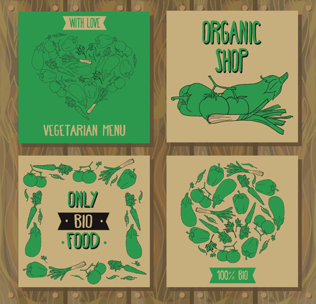 Set of cards with vegetables, can be used for vegan cafe, farmers market of vegetarian foods shop. Illusztráció