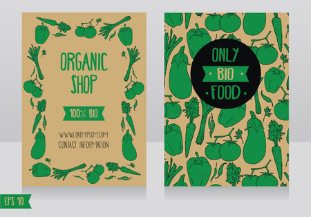 Promo cards template for organic foods shop, can be used as menu card for vegan cafe.