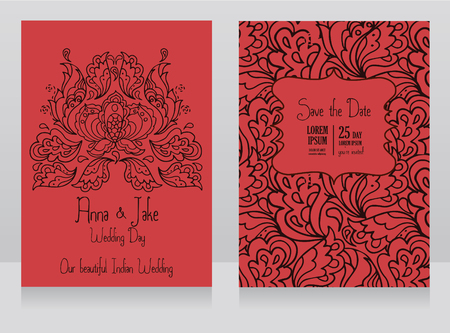 Template for wedding invitation in indian style traditional 91267105 template for wedding invitation in indian style red color traditional paisley ornament vector illustration stopboris Image collections