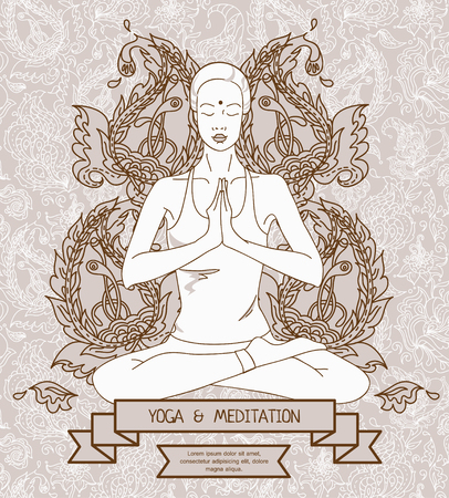 Yoga banner, woman in lotus asana with paisley ornament, vector illustration