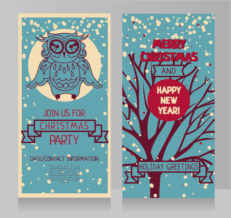 Cute owl on banner for christmas party in retro palette, vector illustration Illustration