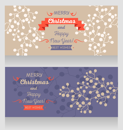 two cards for christmas and happy new year with winter twigs, vector illustration
