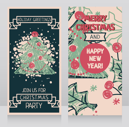 Template for xmas party invitation, hand drawn vector illustration