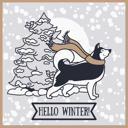card for winter with cute siberian husky and christmas tree, vector illustration