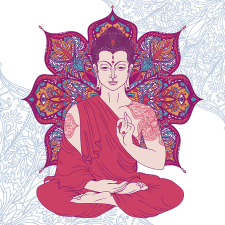 Buddha in meditation on beautiful and magical round pattern. Can be used as greeting card for Buddha birthday, vector illustration.