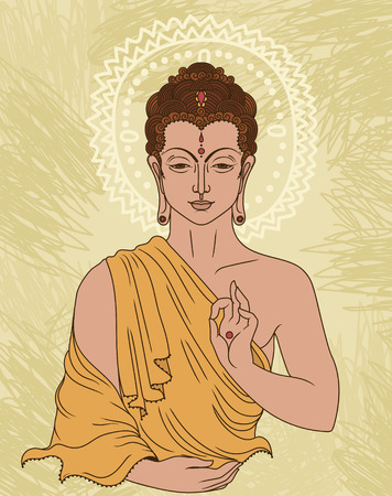 Traditional Buddha in meditation. Can be used as greeting card for Buddha birthday, vector illustration. Vectores