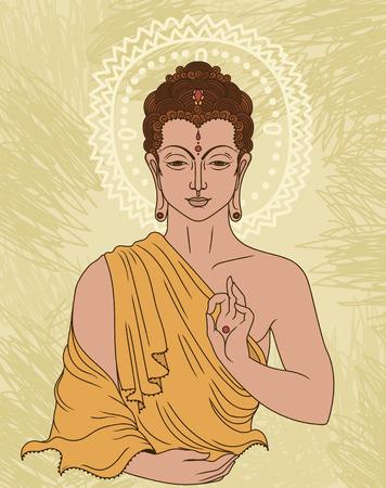 Traditional Buddha in meditation. Can be used as greeting card for Buddha birthday, vector illustration. Ilustração