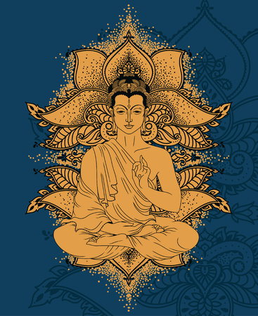 Buddha in meditation on beautiful and magical ornament formed from stylized lotus flowers. Can be used as greeting card for Buddha birthday, vector illustration.