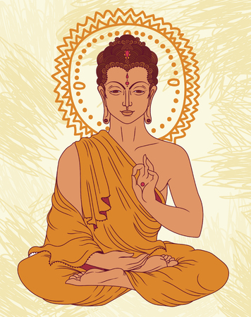 Traditional Buddha in meditation. Can be used as greeting card for Buddha birthday, vector illustration. Illustration