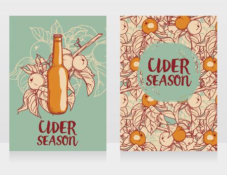 Set of cards for cider season with branches of apple tree Ilustração