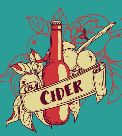 Poster for cider season with beautiful branch of apple tree and bottle of cider, vector illustration Illustration