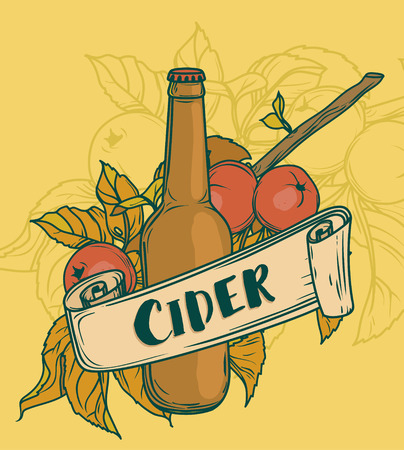 Poster for cider season with beautiful branch of apple tree and bottle of cider, vector illustration Vectores