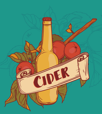 poster for cider season with beautiful branch of apple tree and bottle of cider, vector illustration