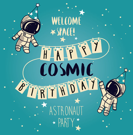 Cute astronaut in party hat on starry background, funny greeting cards for boys birthday party, cosmic vector illustration