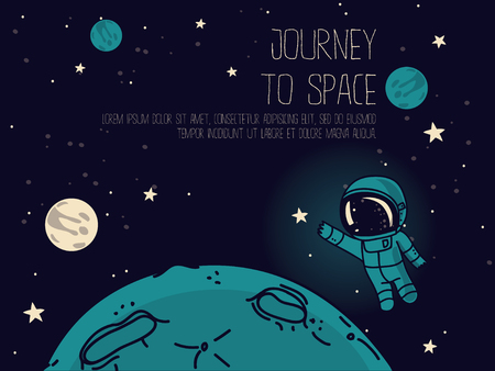 Cosmic background with cute doodle astronauts floating in space and place for text, vector illustration