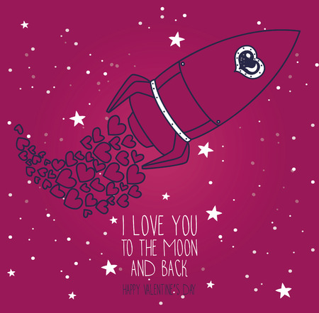 Cosmic card for valentine's day, doodle rocket with hearts on starry sky, vector illustration Vettoriali