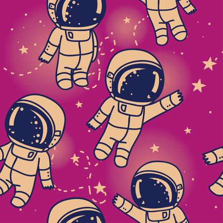 Cosmic seamless pattern, cute doodle astronauts floating in space, vector illustration