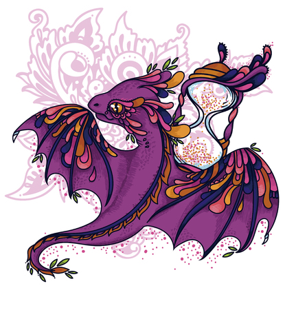 Cute cartoon dragon and hourglass, time guardian, vector illustration Stock Illustratie