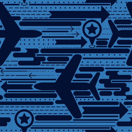 trendy seamless background with planes, arrows and lines, can be used for travels and airposrts, vector illustration Vettoriali