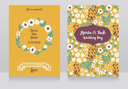 民俗的なスタイルの2枚の結婚式のカード、花のデザイン、ベクトルイラスト 写真素材 - 91796888