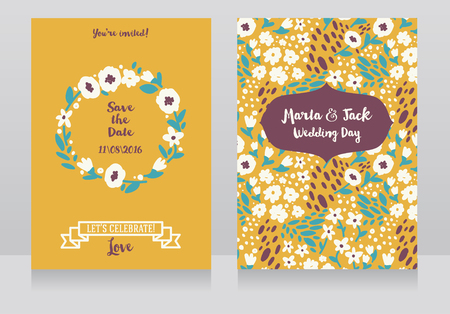 Two wedding cards in folkloric style, flowers design, vector illustration Illustration