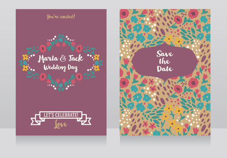 Two wedding cards in folkloric style, flowers design, vector illustration  イラスト・ベクター素材