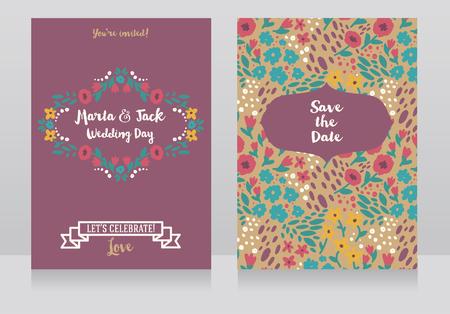 民俗的なスタイルの2枚の結婚式のカード、花のデザイン、ベクトルイラスト 写真素材 - 91796887